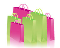 Green and pink shopping bags Royalty Free Stock Photography