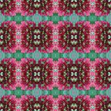 Green and pink small flowers seamless crossed tile pattern royalty free stock photography