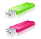 Green and pink usb flash drive Stock Image