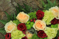 Green and pink wedding flowers Stock Photo