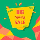 Green, pink and yellow big spring sale. Up to 50 off special offer poster. Vector paper illustration Royalty Free Stock Photos