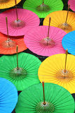 Green, Pink, Yellow, Blue, Orange umbrellas. Royalty Free Stock Images