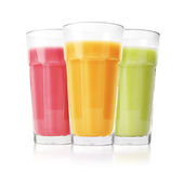 Green, pink and yellow smoothies Stock Image