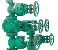 Green pipe system with valves Stock Images