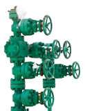 Green pipe system with valves Stock Photo