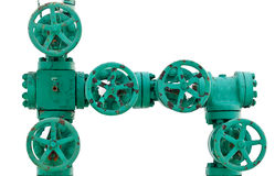 Green pipe system with valves Stock Photos