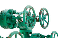 Green pipe system with valves Royalty Free Stock Photography