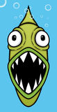 Green Piranha. Cute green piranha in blue background,  illustration Stock Photography