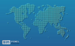 Green pixel world map on blue background Stock Photo