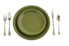 Green Place Setting Royalty Free Stock Images