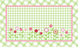Green plaid background. Abstract pink and red flowers in green plaid background Royalty Free Stock Image