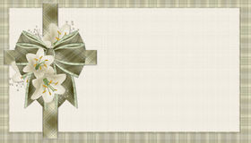 Green Plaid Christian Cross Background. This beautifully decorated background has a soft green plaid christian cross. On the cross is lilly flowers and a royalty free illustration
