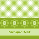 Green plaid flowercard. Retro colorful spring plaid and flower template vector illustration