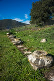 Green plains, ruins and mountains around Vitina, Peloponnese, Gr Royalty Free Stock Image