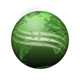 Green planet. With light waves on white background Stock Illustration