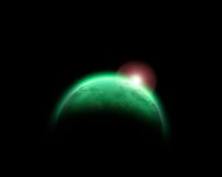 Green Planet. Green Glowing Planet abstract Background Royalty Free Stock Photos