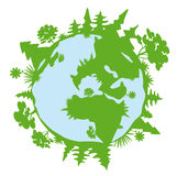 Green planet. Illustration of a simple silhouette of a green planet Stock Photo