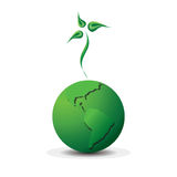 Green planet. Logo with the earth and sprout image Stock Photos