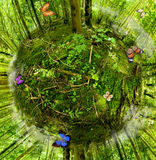 Green Planet. Conservation concept: green planet with butterflies Royalty Free Stock Photography