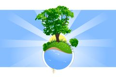 Green planet. Abstract green planet with trees grass and windsurfing vector illustration