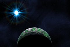 Green Planet. With atmospheric star studded background Royalty Free Stock Photography