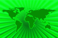 Green Planet. CG map of planet earth over green background stock illustration