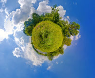 Green planet. High resolution panoramic image looks like green planet. Ecology and space concept stock image