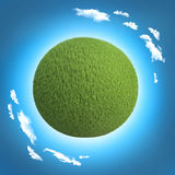 Green planet with blue skies and clouds template concept.  vector illustration