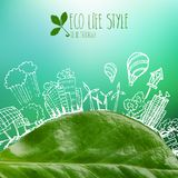 Green planet with circle ecology doodles. Sketched eco elements with earth and leaves Royalty Free Stock Photography