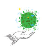 green planet concept, hands, sustainable development, vector, hand Royalty Free Stock Photo
