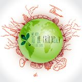 Green planet with danger ecology doodles. Sketched eco elements with earth and Stock Photography