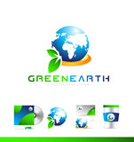 Green planet earth globe logo icon design Stock Images