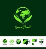 Green planet earth logo icon design Stock Photo