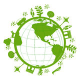 Green Planet. A green planet Earth with objects and nature surrounding it Stock Photography