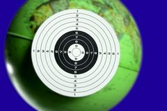 Green planet earth seen as a target Stock Photo
