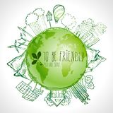 Green planet with circle ecology doodles. Sketched eco elements with earth and world map Stock Photos