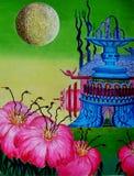 On a green planet. Fantasy on `Alien Worlds` stock illustration