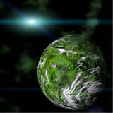 Green planet on galactic background. Computer generated Green planet and Star in space Stock Photography