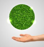 Green planet and the human hand. Royalty Free Stock Image