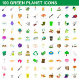100 green planet icons set, cartoon style. 100 green planet icons set in cartoon style for any design vector illustration Stock Images