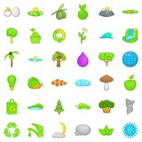 Green planet icons set, cartoon style. Green planet icons set. Cartoon style of 36 green planet vector icons for web isolated on white background Stock Photos