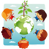 Green planet Kids. United for a cleaner planet Stock Photography