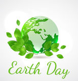 Green planet and leaves Royalty Free Stock Images