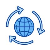 Green planet line icon. Royalty Free Stock Photography