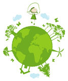 Green planet. Little girl jumping rope on green planet Royalty Free Stock Image