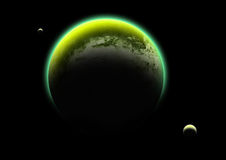Green Planet and Moons Stock Photography