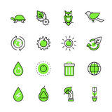 Green planet nature ecology lineart web flat vecto Royalty Free Stock Photos