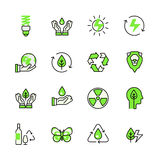 Green planet nature energy recycling lineart flat Royalty Free Stock Image