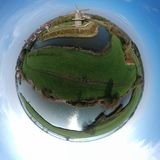 Green planet panorama drone stock photo