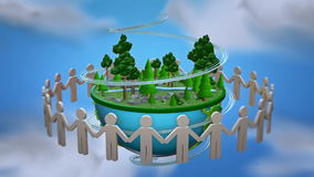 Green planet. People Holding Hands Around the lowpoly world. Loop animation stock video footage